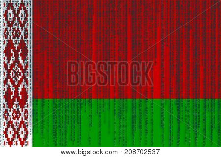 Data Protection Belarus Flag. Belorussian Flag With Binary Code.