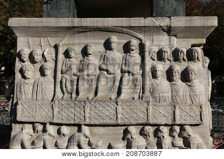 Base Of The Obelisk Of Theodosius In Istanbul