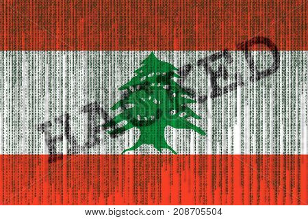 Data Hacked Lebanon Flag. Lebanon Flag With Binary Code.