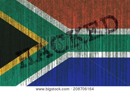 Data Hacked South Africa Flag. South Africa Flag With Binary Code.