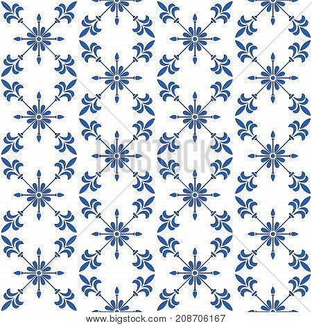 Gorgeous seamless pattern white blue Moroccan Portuguese tiles Azulejo ornaments. Can be used for wallpaper pattern fills web page background surface textures interior. Vector