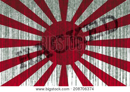 Data Hacked Rising Sun Japan Flag. Japan Flag With Binary Code.