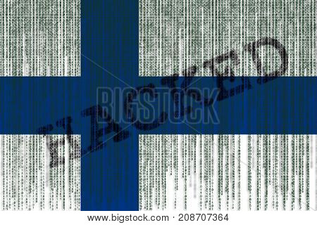 Data Hacked Finland Flag. Finland Flag With Binary Code.
