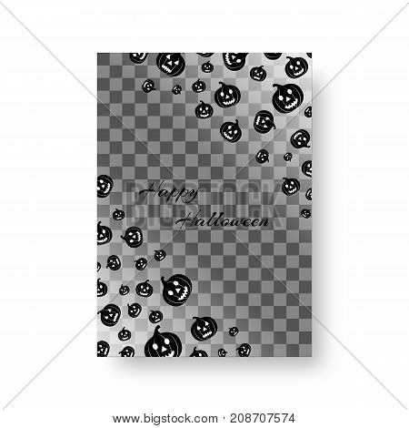 Mock greeting card with black pumpkin silhouettes for festive halloween design