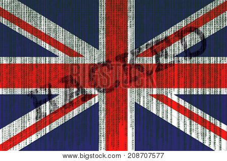 Data Hacked Great Britain Flag. Union Jack Flag With Binary Code.