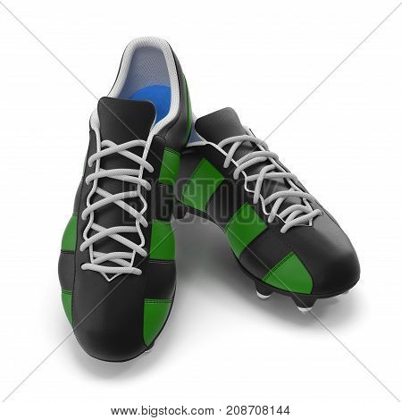 Outdoor soccer cleats shoes on white background. 3D illustration