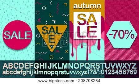 Autumn Sale  Modern banner template for social media and mobile apps. Fashionable alphabet Creative sale graphic. Autumn background for sale poster. Easy editable for design.