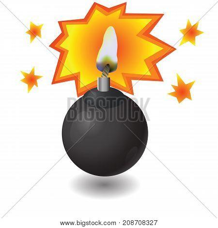 Black Burning Bomb Icon Isolated on White Background