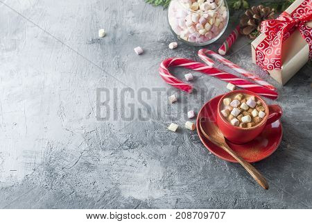 Fir   Bumps Cones, Cocoa In Red Cup