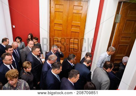 Orel Russia October 7 2017: New Orel Governor presentation. Officials leaving the cabined above view