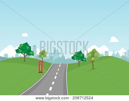 Street in public park with nature landscape and building background vector illustration.Main street scene vector.Pathway to city and nature around.