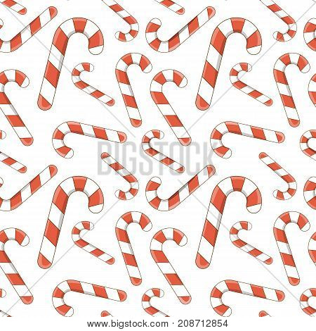 Vector illustration. Christmas candy cane. Funny canvas cartoon comic style outline. Decorative painting for your greeting cards, posters, and prints for clothing, flyers. Stock vector.