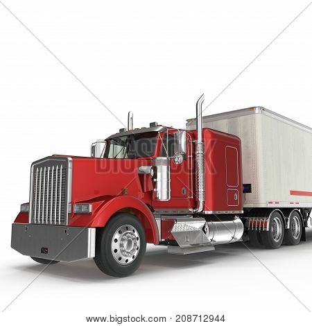 Red truck with a trailer on white background 3D Illustration