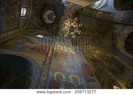 SAINT PETERSBURG, RUSSIA, MAY 06, 2017:Fragment of the interior of the dome of the Kazan Cathedral in St. Petersburg.