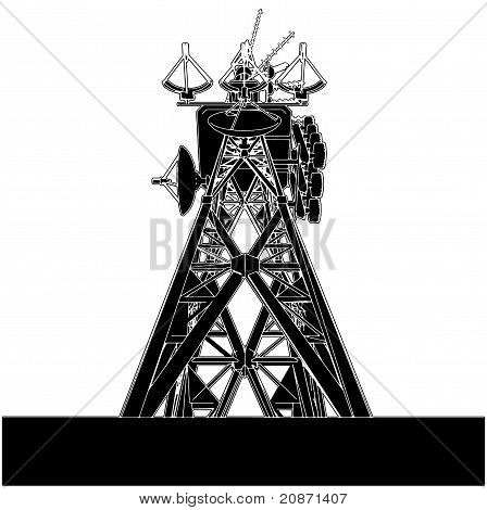 Telecommunications Antenna Transmission Tower Isolated Illustration Vector poster