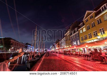 Scenic Summer View Of Nyhavn  In The Old Town Of Copenhagen, Denmark