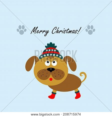 Christmas card with a cartoon dog. The new year 2018. Vector illustration