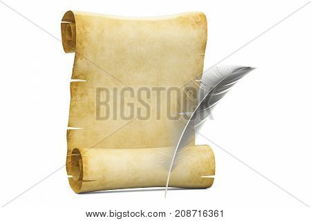 Blank roll of papyrus with feather 3D rendering isolated on white background