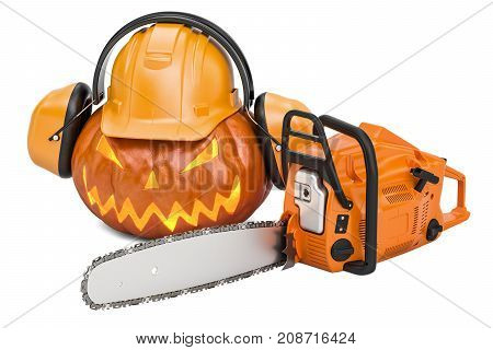 Halloween pumpkin with hardhat ear defenders and chainsaw 3D rendering
