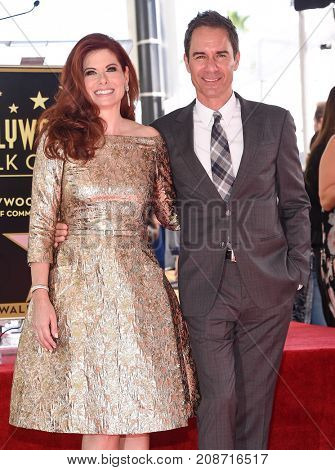 LOS ANGELES - OCT 06:  Eric McCormack and Debra Messing arrives for the Debra Messing Hollywood Walk of Fame Star Ceremony on October 6, 2017 in Hollywood, CA