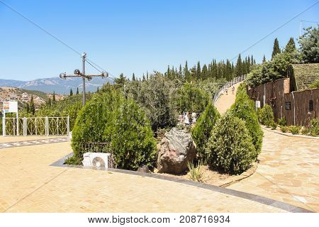 Yalta, Crimea - 11 July, Landscaping near the temple, 11 July, 2017. City monuments to military seamen.