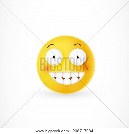 Yellow emoticon with cheesy grin. Embarrassment, smile, excitement. Facial expression concept. Can be used for greeting cards, posters, leaflets and brochure