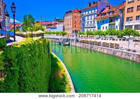 Green Ljubljanica River Architecture View In Ljubljana