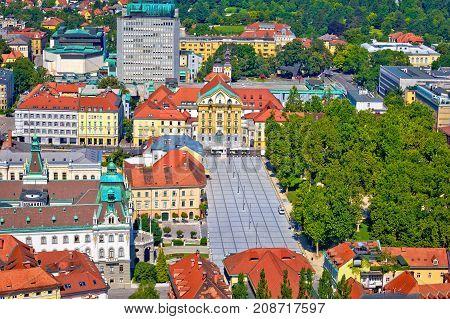Aerial Skyline Of Ljubljana City