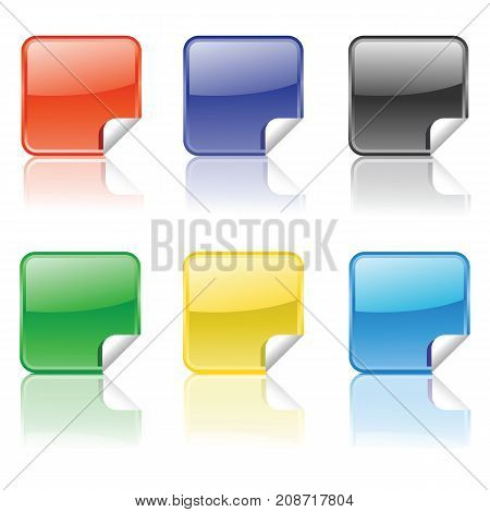 Set of Colorful Stickers Isolated on White Background