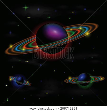Colorful Illustration with Space Background for your design