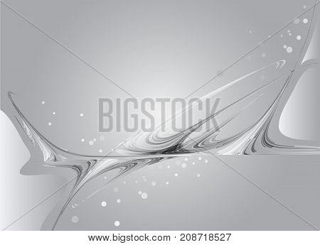 Grey background with wavy abstract elements, abstract curves