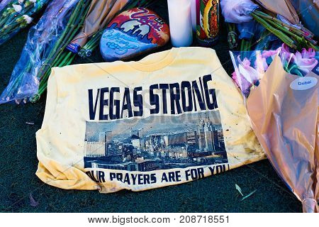 LAS VEGAS - OCT 07 ,2017 : Memorial Message of the Las Vegas Shooting victims on the Las Vegas Strip Near the Mandalay Bay.
