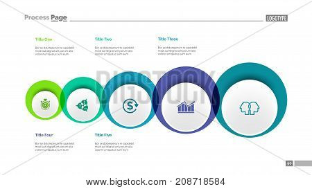 Five circles process chart slide template. Business data. Workflow, diagram, design. Creative concept for infographic, presentation. Can be used for topics like management, recruitment, training.