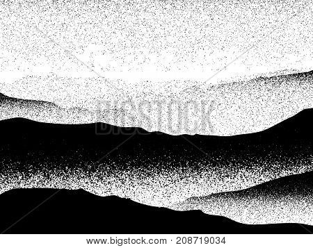 Foggy Landscape Mountain Forest Mystical Cloudy Scenery Vector Black White