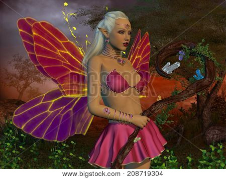 Fairy Raina 3d illustration - A fairy is a creature of myth and legend and has wings and magical powers in the fairytale forest.