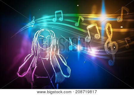 Abstract bright colorful futuristic image on woman listening to music. Art concept. 3D Rendering