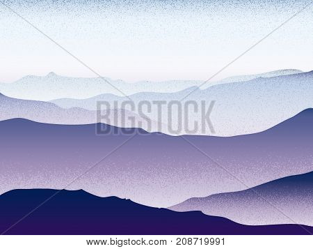 Foggy Landscape Beauty Mountain Forest Mystical Cloudy Scenery Vector Background