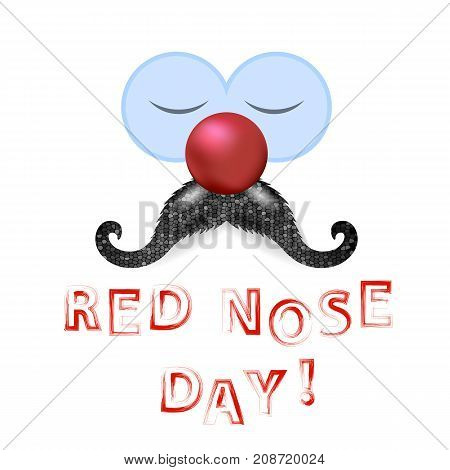 Clown Red Nose Day Banner with Mustache Isolated on White Background