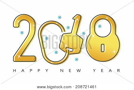 Happy 2018 new year flat thin line gold greeting card design concept. Isolated snow flakes keys & lock symbols on white background.