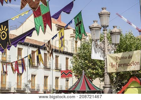 Event, traditional medieval festival in the streets of Alcala de Henares, Madrid Spain