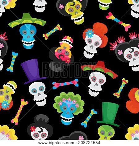 Seamless Pattern With Colorful Skulls And Bones For Halloween