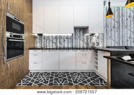 Modern kitchen interior design with white cupboards
