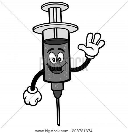 A vector illustration of a cartoon Flu Shot.