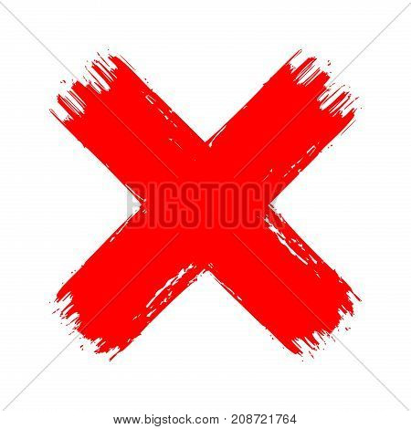 X red cross brush paint stroke. Hand drawn blood vector texture no decline cancel sign symbol. Isolated on white background.
