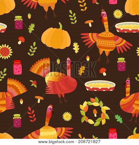 Vector Thanksgiving Seamless Pattern. Repeating Autumn Backgroun