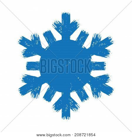 Blue grunge style flat brush stroke happy new year cold and cool snow flake symbol isolated on white background