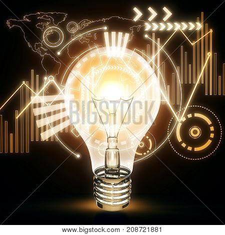 Glowing lamp with business hologram and map. Analytics concept. 3D Rendering