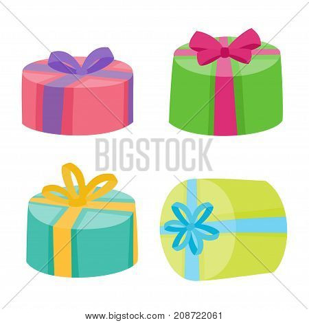 Christmas Or Birthday Presents Collection. Vector Illustration