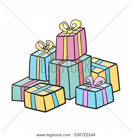 Christmas or birthday presents collection. Vector illustration of cartoon gifts  isolated on white