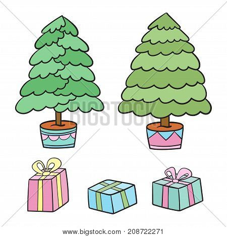 Christmas tree and presents collection. Vector illustration of cartoon gifts in boxes isolated on white with different trees.